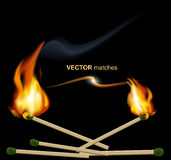 Vector lighted match on a black background Royalty Free Stock Photography