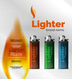 Vector lighter ad template with orange blaze Stock Photos