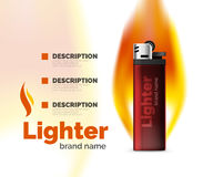 Vector lighter ad template with orange blaze Stock Image