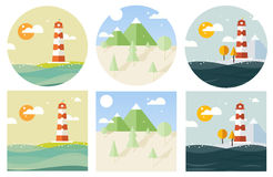 Vector lighthouse flat style Royalty Free Stock Photo