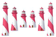 Vector Lighthouse, light house, beacon set. Vector Lighthouse, light house, beacon maritime tower set stock illustration