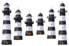 Vector Lighthouse, light house, beacon set. Vector Lighthouse, light house, beacon maritime tower set royalty free illustration