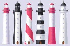 Vector Lighthouse, light house, beacon set. Vector Lighthouse, light house, beacon maritime tower set vector illustration