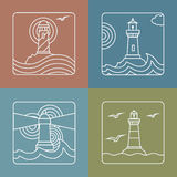 Vector lighthouse logo design templates   linear Royalty Free Stock Images