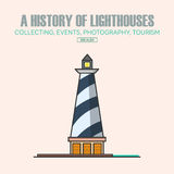 Vector lighthouse logo design templates in trendy linear style. Royalty Free Stock Images