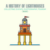 Vector lighthouse logo design templates in trendy linear style. Stock Photography