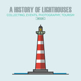 Vector lighthouse logo design templates in trendy linear style. Royalty Free Stock Image