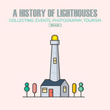 Vector lighthouse logo design templates in trendy linear style. Royalty Free Stock Photos