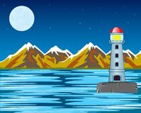 Vector lighthouse by night Stock Photography