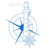 Vector lighthouse, windrose and the ship's rudder Royalty Free Stock Images