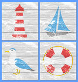 Vector lighthouse, yacht, seagulls and lifebuoy Royalty Free Stock Photography