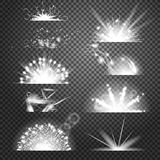 Vector lighting effects. Set of glints on transparent like background Royalty Free Stock Photos