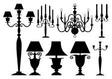 Vector lighting silhouettes collection Stock Images