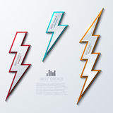 Vector lightning bolt banners set. 3 variants. Stock Photos