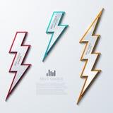 Vector lightning bolt banners set. 3 variants. Eps10 Stock Photos