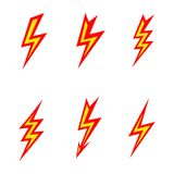 Vector lightning colored silhouettes on white Royalty Free Stock Photos
