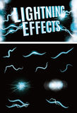 Vector lightning effect collection. Set of Vector glowing special lightning effects for design Stock Photography