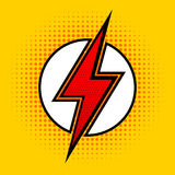 Vector lightning in pop art style. Sign of superhero. Royalty Free Stock Image