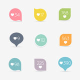 Vector Like Counter button icon set. Communication and network, Stock Photography