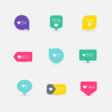 Vector Like Counter button icon set. Communication and network,. Web and internet, ribbons and labels design. Vector illustration Royalty Free Stock Image