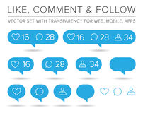 Vector Like, Follower, Comment Icon Set Stock Photography