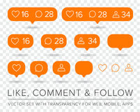 Vector Like, Follower, Comment Icon Set Stock Images