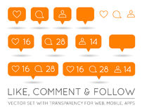 Vector Like, Follower, Comment Icon Set Royalty Free Stock Images