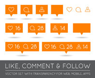 Vector Like, Follower, Comment Icon Set Royalty Free Stock Image