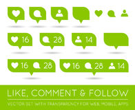 Vector Like, Follower, Comment Icon Set Stock Image