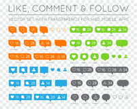 Vector Like, Follower, Comment Icon Set Royalty Free Stock Photos
