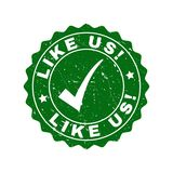 Like Us! Grunge Stamp with Tick vector illustration