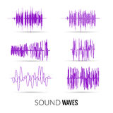 Vector lilac sound waves set. Audio equalizer technology, music pulse. Vector illustration Royalty Free Stock Photography