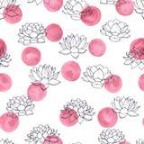 Vector Lilienkonturen mit nahtlosem Muster der rosa Aquarellkreise auf weißem Hintergrund Weinleseblumenmuster Stockfotos