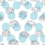 Vector lilies contours with blue circles seamless pattern on white background. Vintage floral design. Royalty Free Stock Photography
