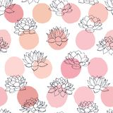 Vector lilies contours with pink circles seamless pattern on white background. Vintage floral design. Royalty Free Stock Image