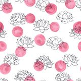 Vector lilies contours with pink watercolor circles seamless pattern on white background. Vintage floral design. Stock Photos