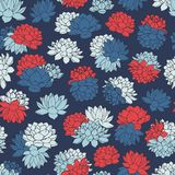Vector lilies seamless pattern in white, red and blue colors on dark navy background. Vintage floral design. Royalty Free Stock Photos