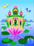 Vector lily house illustration. Flower House on the lake with lilies and dragonflies. Fairy tale illustration Royalty Free Stock Image