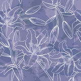 Vector Lily Seamless Pattern stock de ilustración