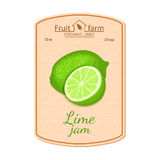 Vector lime jam lable. Composition of tropical green lemon fruits. Design of a sticker for a jar with lime jam, fruit Stock Photo