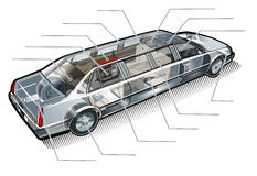 Vector limousine inforgaphics cutaway Royalty Free Stock Image