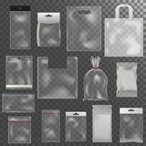 Vector limpio del paquete de la bolsa de plástico del paquete de la maqueta del paquete 3d del abrigo de la publicidad brillante  ilustración del vector