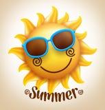 vector lindo sonriente feliz realista de 3D Sun con las gafas de sol coloridas Foto de archivo