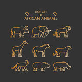 Vector line african animals icon set. Royalty Free Stock Image