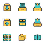 Vector line archive icon set. Trendy flat line icon pack for designers and developers. Vector line archive icon set Stock Image