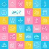 Vector Line Art Baby and Newborn Toys Icons Set Stock Photo