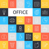 Vector Line Art Business Office Icons Set. Vector Set of Modern Thin Outline Working Place and Job Items over Colorful Squares Royalty Free Stock Images