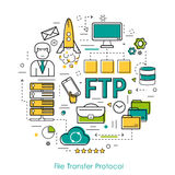 Vector Line Art Concept of FTP Royalty Free Stock Photography