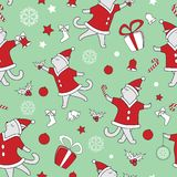Vector line art doodle cute dancing cats illustration. Christmas seamless pattern stock illustration