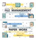 Vector line art file management paperwork template. File management and paperwork template set. Vector modern thin line art flat style design elements for Stock Photography